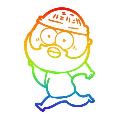 rainbow gradient line drawing of a cartoon bearded man running
