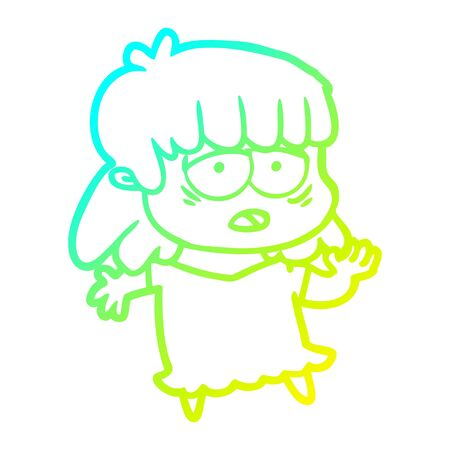 cold gradient line drawing of a cartoon tired woman 向量圖像