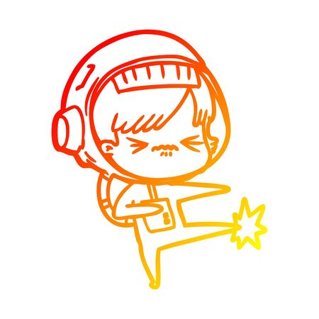 warm gradient line drawing of a angry cartoon space girl stubbing toe