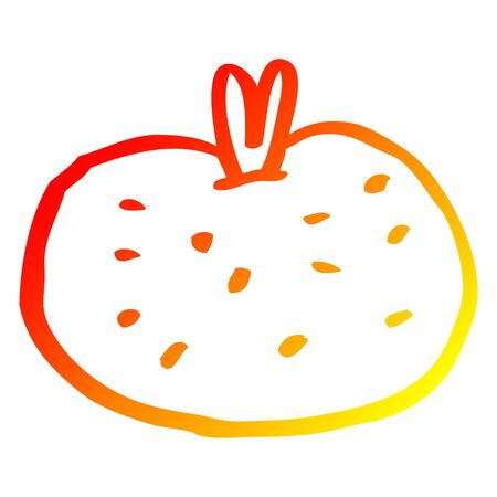 warm gradient line drawing of a cartoon tomato