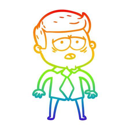 rainbow gradient line drawing of a cartoon tired man 向量圖像