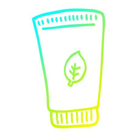 cold gradient line drawing of a cartoon of moisturiser Ilustração
