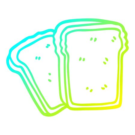 cold gradient line drawing of a cartoon toast  イラスト・ベクター素材