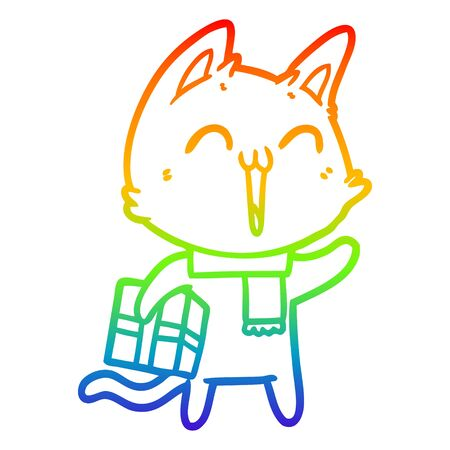 rainbow gradient line drawing of a happy cartoon cat with christmas gift