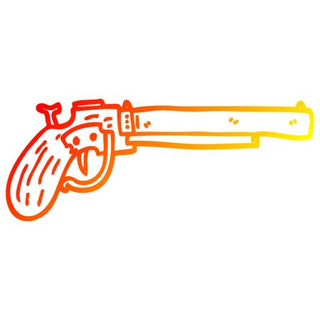 warm gradient line drawing of a cartoon old pistol