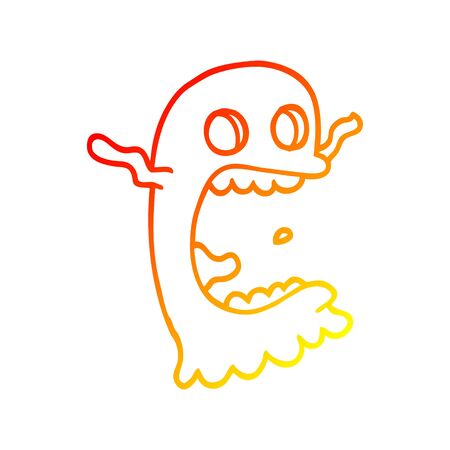 warm gradient line drawing of a cartoon spooky ghost Illustration