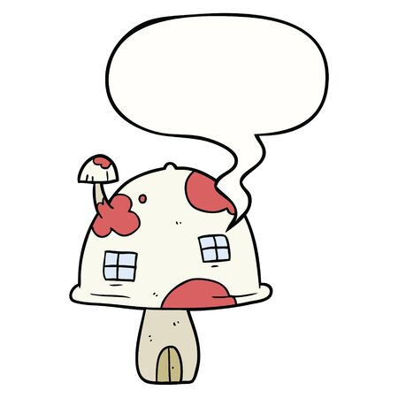 cartoon fairy mushroom house with speech bubble Foto de archivo - 130141267