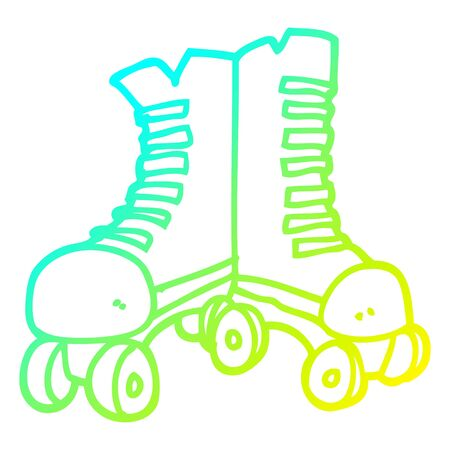 cold gradient line drawing of a cartoon roller boots