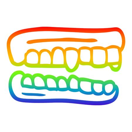 rainbow gradient line drawing of a cartoon false teeth