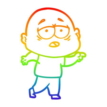 rainbow gradient line drawing of a cartoon tired bald man 版權商用圖片 - 130141306