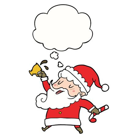 cartoon santa claus with hot cocoa with thought bubble