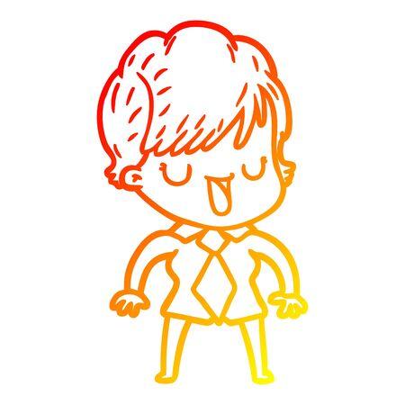 warm gradient line drawing of a cartoon woman talking Foto de archivo - 130141313