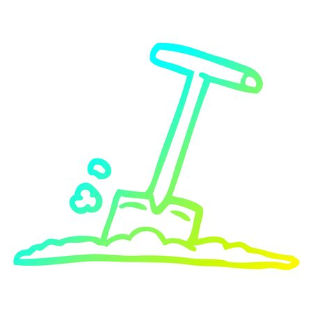 cold gradient line drawing of a cartoon shovel in dirt  イラスト・ベクター素材