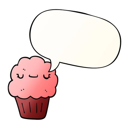 cartoon muffin with speech bubble in smooth gradient style Ilustração