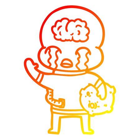 warm gradient line drawing of a cartoon big brain alien crying and waving goodbye