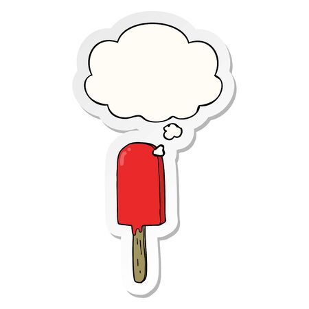 cartoon lollipop with thought bubble as a printed sticker
