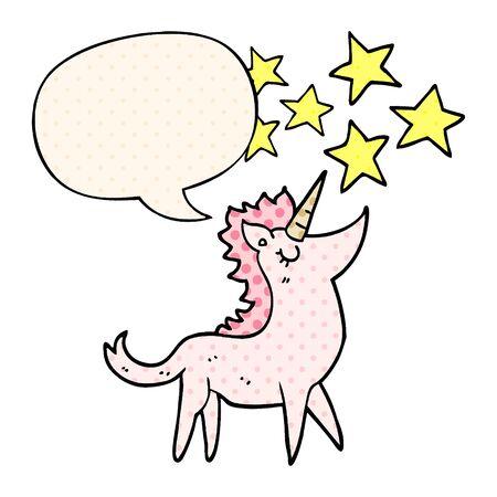 cartoon unicorn with speech bubble in comic book style