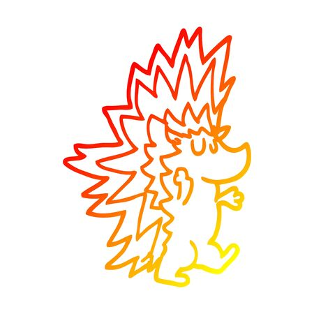 warm gradient line drawing of a cartoon spiky hedgehog Illustration