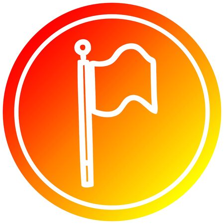 waving flag circular icon with warm gradient finish Banque d'images - 130141465