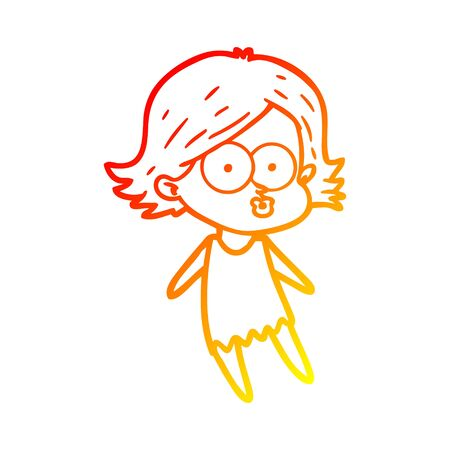 warm gradient line drawing of a cartoon girl pouting