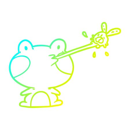 cold gradient line drawing of a cute frog catching fly with tongue Stock Illustratie