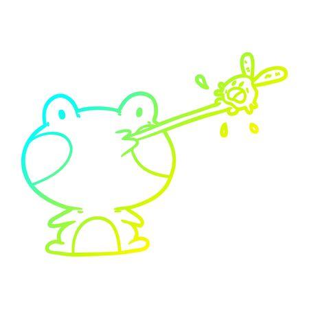 zimny gradient rysowania linii słodkiej żaby łapiącej muchę językiem