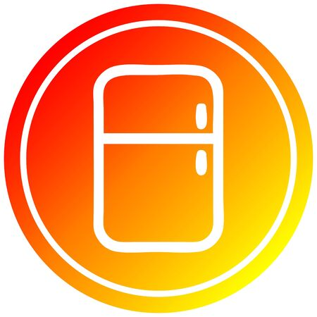kitchen refrigerator circular icon with warm gradient finish