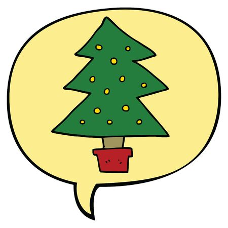 cartoon christmas tree with speech bubble Standard-Bild - 130141530