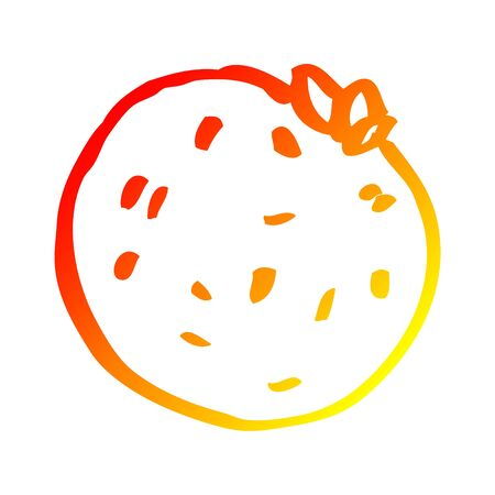 warm gradient line drawing of a cartoon grapefruit