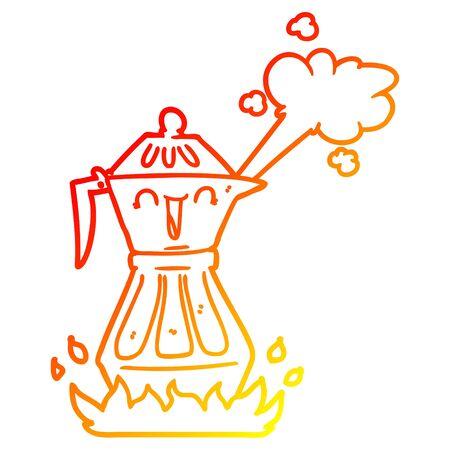 warm gradient line drawing of a cartoon coffee pot Illusztráció
