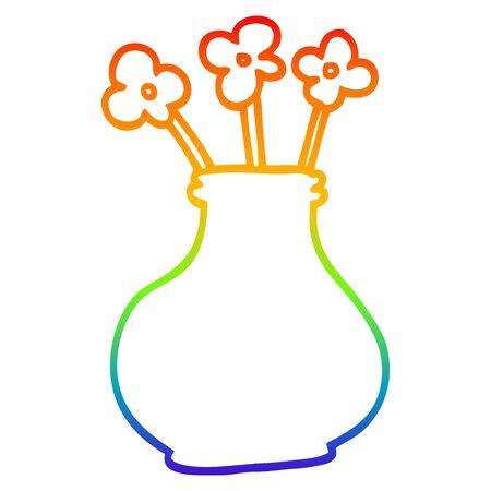 rainbow gradient line drawing of a cartoon flower vase Ilustração