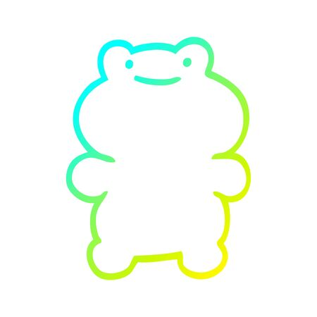cold gradient line drawing of a funny cartoon frog