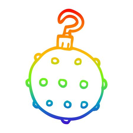 rainbow gradient line drawing of a cartoon red bauble Ilustrace