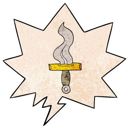 cartoon dagger with speech bubble in retro texture style  イラスト・ベクター素材
