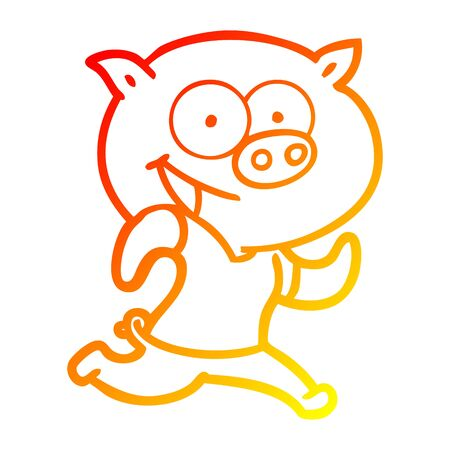 warm gradient line drawing of a cheerful pig exercising cartoon