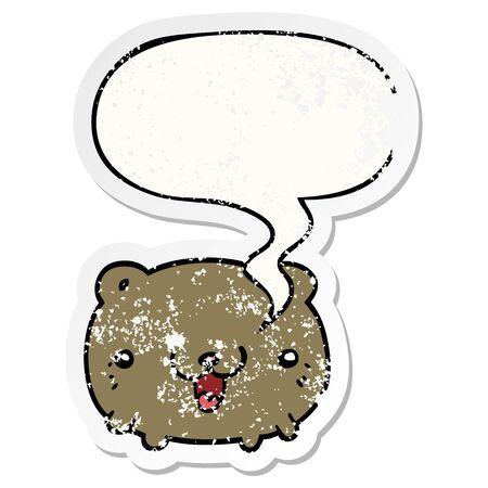 funny cartoon bear with speech bubble distressed distressed old sticker Ilustração