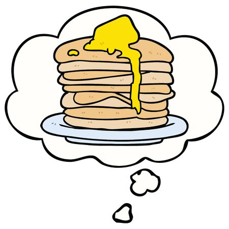 cartoon stack of pancakes with thought bubble Ilustração