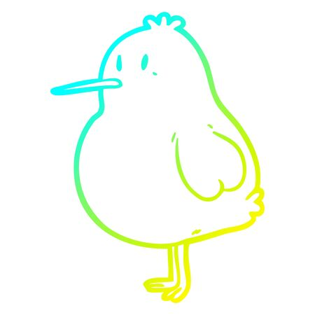 cold gradient line drawing of a cute kiwi bird