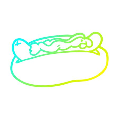 cold gradient line drawing of a hotdog with mustard and ketchup 向量圖像