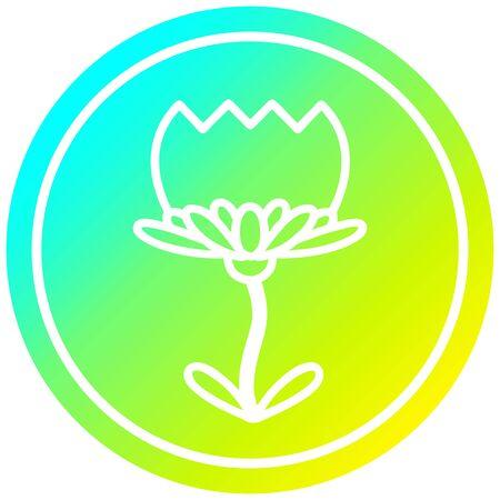 lotus flower circular icon with cool gradient finish Ilustracja