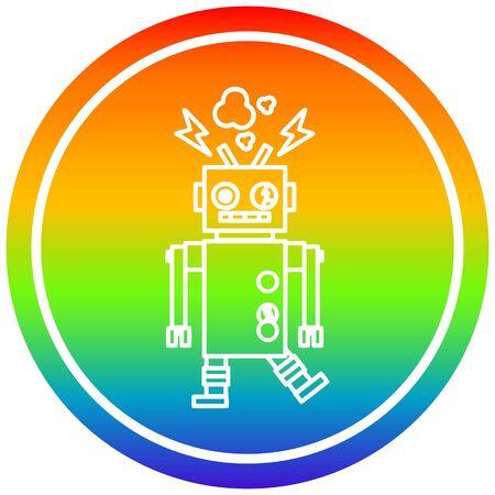 Kreisförmiges Symbol des nicht funktionierenden Roboters mit Regenbogen-Farbverlauf