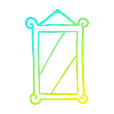 cold gradient line drawing of a framed old mirror Illustration