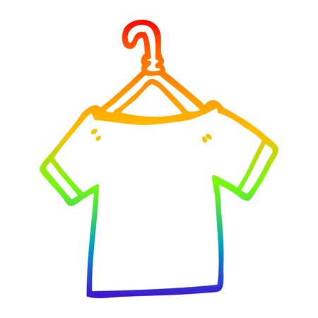 rainbow gradient line drawing of a cartoon t shirt on hanger Illustration