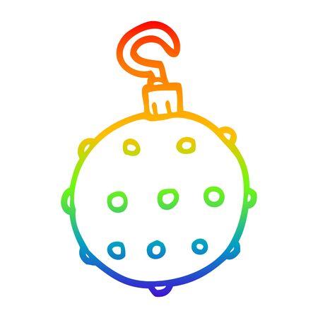 rainbow gradient line drawing of a cartoon golden xmas bauble