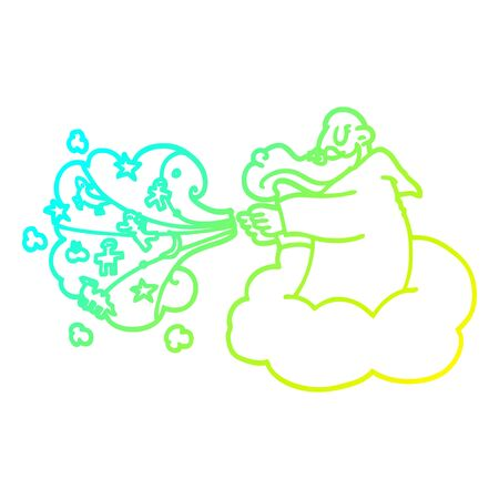 cold gradient line drawing of a cartoon god creating universe Иллюстрация