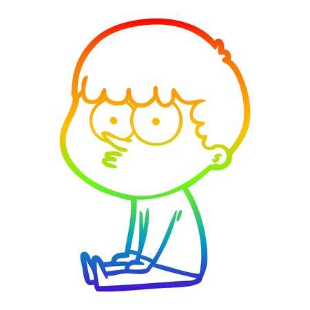 rainbow gradient line drawing of a cartoon boy sat waiting