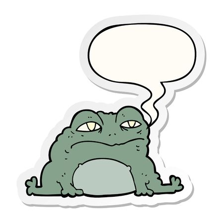 cartoon toad with speech bubble sticker
