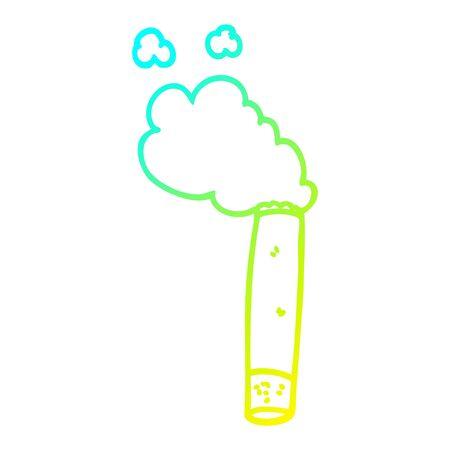 cold gradient line drawing of a cartoon cigarette Ilustração