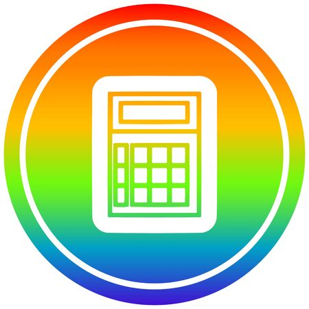 math calculator circular icon with rainbow gradient finish 向量圖像
