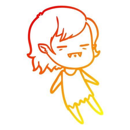 warm gradient line drawing of a cartoon undead vampire girl flying Ilustração